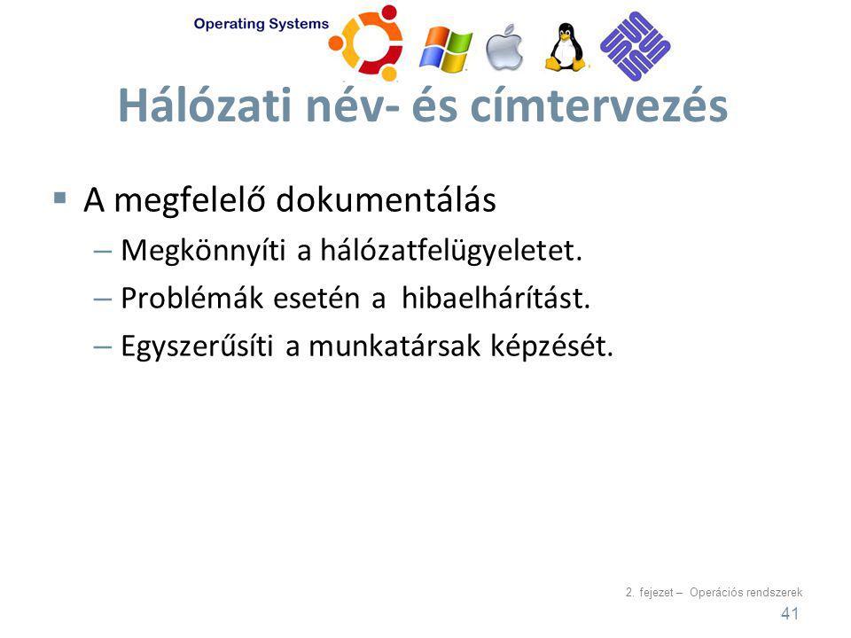 2. fejezet – Operációs rendszerek Hálózati név- és címtervezés  A megfelelő dokumentálás – Megkönnyíti a hálózatfelügyeletet. – Problémák esetén a hi