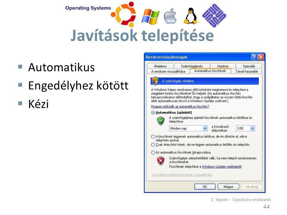 2. fejezet – Operációs rendszerek Javítások telepítése  Automatikus  Engedélyhez kötött  Kézi 44