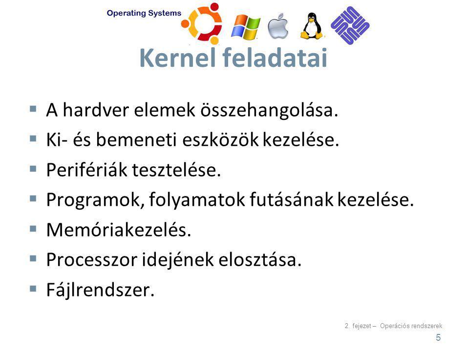 2.fejezet – Operációs rendszerek Kernel feladatai  A hardver elemek összehangolása.