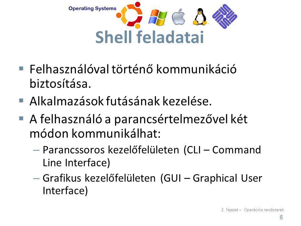 2. fejezet – Operációs rendszerek Shell feladatai  Felhasználóval történő kommunikáció biztosítása.  Alkalmazások futásának kezelése.  A felhasznál