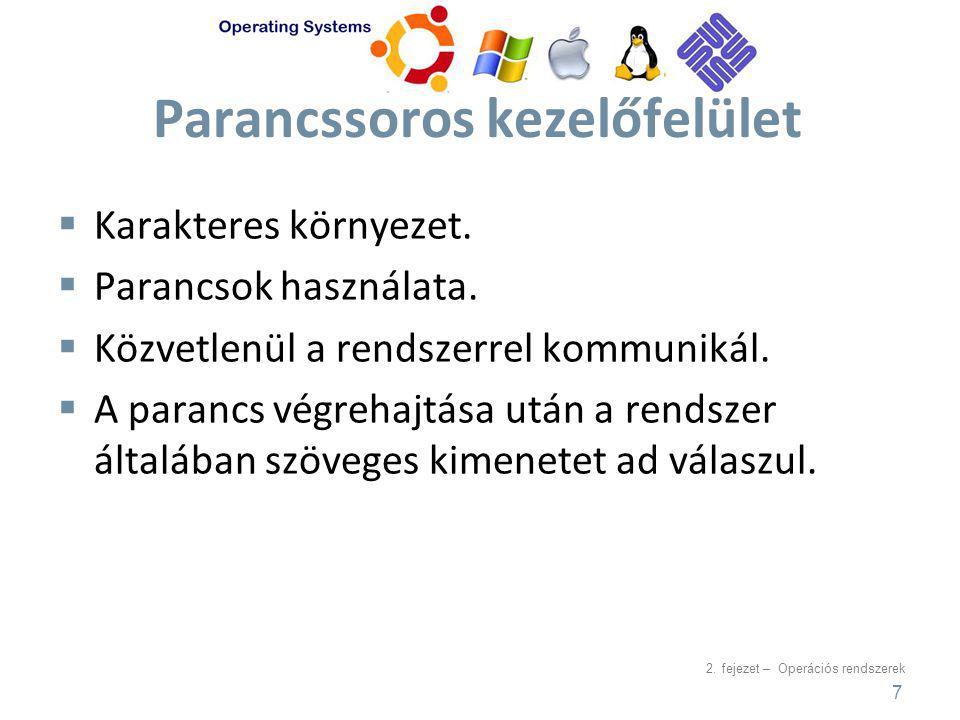 2.fejezet – Operációs rendszerek Parancssoros kezelőfelület  Karakteres környezet.