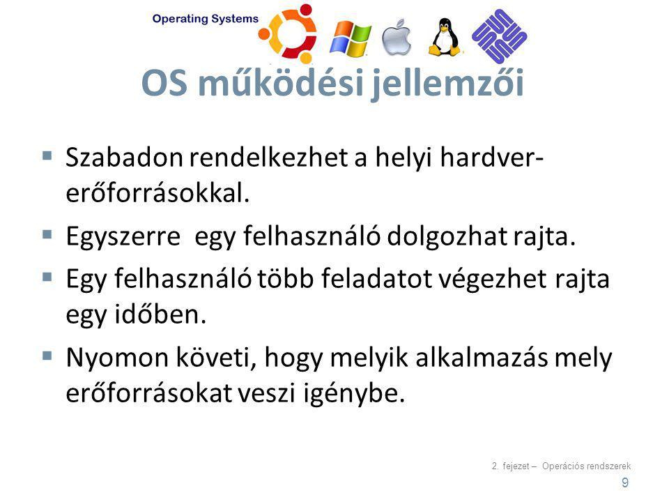 2. fejezet – Operációs rendszerek OS működési jellemzői  Szabadon rendelkezhet a helyi hardver- erőforrásokkal.  Egyszerre egy felhasználó dolgozhat