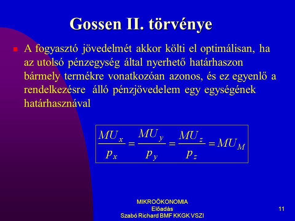 MIKROÖKONOMIA Előadás Szabó Richard BMF KKGK VSZI 11 Gossen II. törvénye A fogyasztó jövedelmét akkor költi el optimálisan, ha az utolsó pénzegység ál