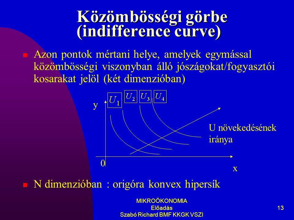 MIKROÖKONOMIA Előadás Szabó Richard BMF KKGK VSZI 13 Közömbösségi görbe (indifference curve) Azon pontok mértani helye, amelyek egymással közömbösségi viszonyban álló jószágokat/fogyasztói kosarakat jelöl (két dimenzióban) N dimenzióban : origóra konvex hipersík y x 0 U növekedésének iránya