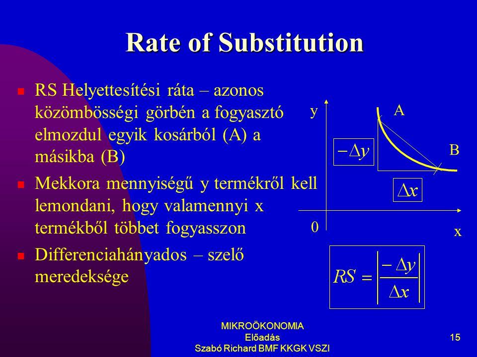 MIKROÖKONOMIA Előadás Szabó Richard BMF KKGK VSZI 15 Rate of Substitution RS Helyettesítési ráta – azonos közömbösségi görbén a fogyasztó elmozdul egyik kosárból (A) a másikba (B) Mekkora mennyiségű y termékről kell lemondani, hogy valamennyi x termékből többet fogyasszon Differenciahányados – szelő meredeksége A B y 0 x