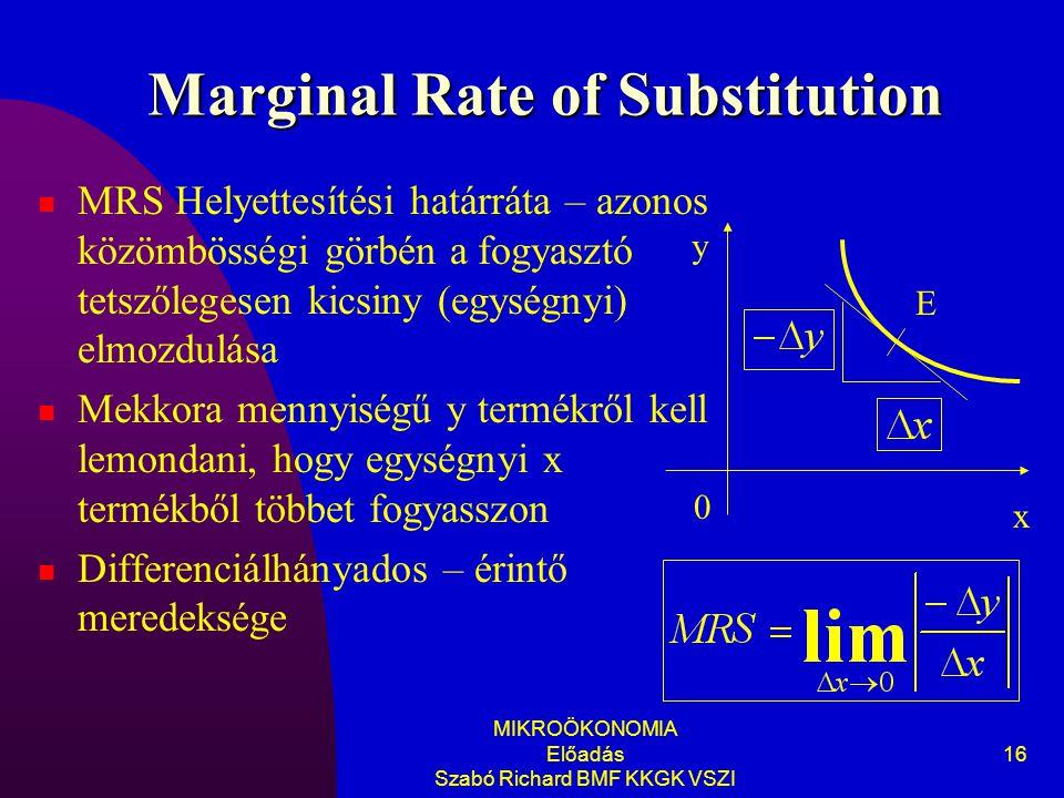 MIKROÖKONOMIA Előadás Szabó Richard BMF KKGK VSZI 16 Marginal Rate of Substitution MRS Helyettesítési határráta – azonos közömbösségi görbén a fogyasztó tetszőlegesen kicsiny (egységnyi) elmozdulása Mekkora mennyiségű y termékről kell lemondani, hogy egységnyi x termékből többet fogyasszon Differenciálhányados – érintő meredeksége E y 0 x