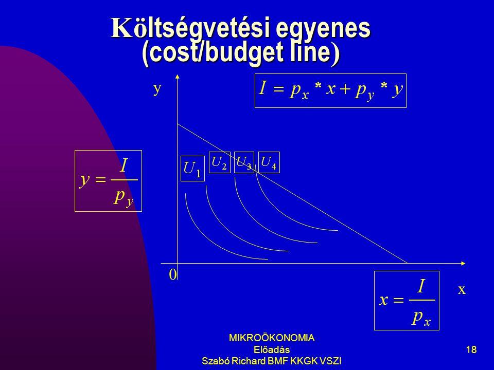 MIKROÖKONOMIA Előadás Szabó Richard BMF KKGK VSZI 18 Kö ltségvetési egyenes (cost/budget line ) y x 0