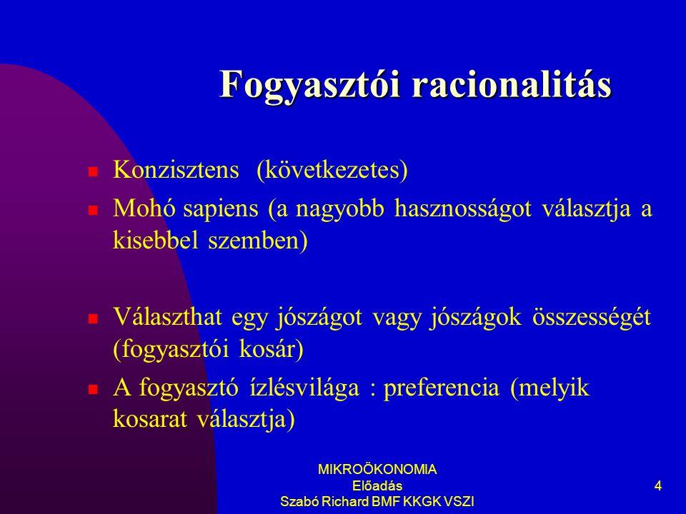 MIKROÖKONOMIA Előadás Szabó Richard BMF KKGK VSZI 4 Fogyasztói racionalitás Konzisztens (következetes) Mohó sapiens (a nagyobb hasznosságot választja