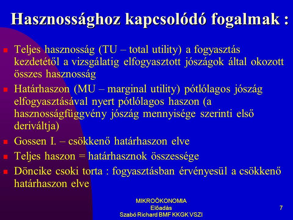 MIKROÖKONOMIA Előadás Szabó Richard BMF KKGK VSZI 7 Hasznossághoz kapcsolódó fogalmak : Teljes hasznosság (TU – total utility) a fogyasztás kezdetétől