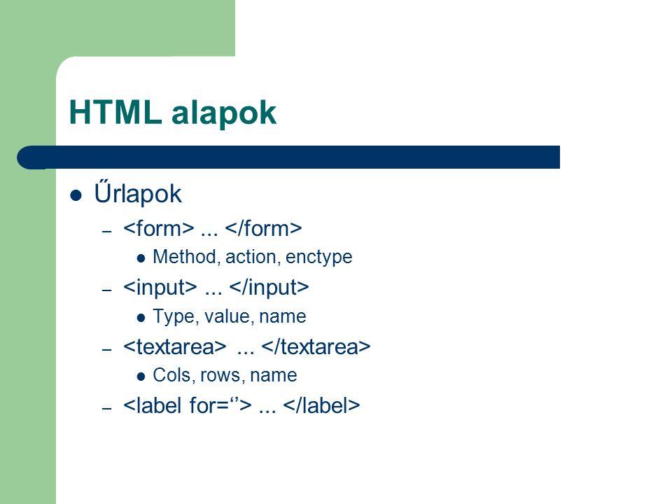 HTML alapok Űrlapok –... Method, action, enctype –... Type, value, name –... Cols, rows, name –...