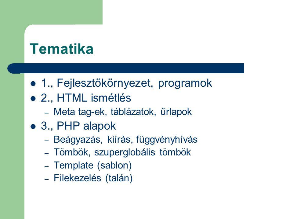 Tematika 1., Fejlesztőkörnyezet, programok 2., HTML ismétlés – Meta tag-ek, táblázatok, űrlapok 3., PHP alapok – Beágyazás, kiírás, függvényhívás – Tö