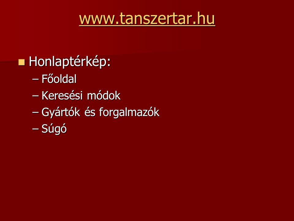 www.tanszertar.hu Honlaptérkép: Honlaptérkép: –Főoldal –Keresési módok –Gyártók és forgalmazók –Súgó