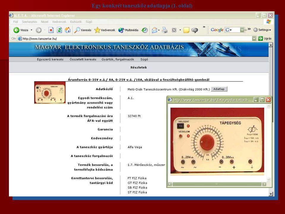 Egy konkrét taneszköz adatlapja (1. oldal)