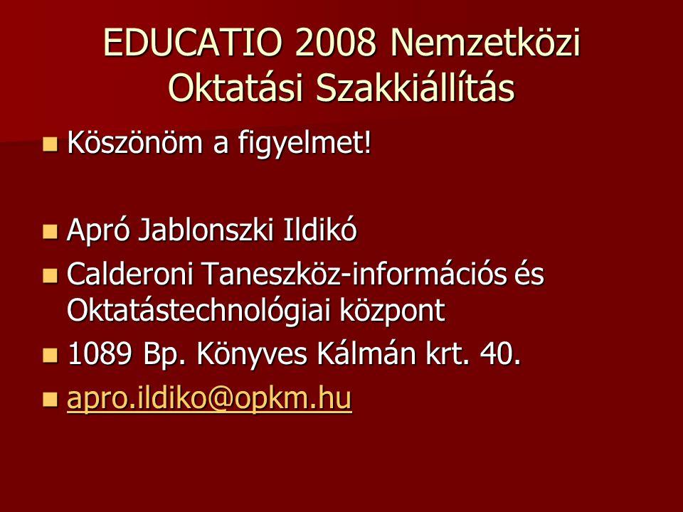 EDUCATIO 2008 Nemzetközi Oktatási Szakkiállítás Köszönöm a figyelmet! Köszönöm a figyelmet! Apró Jablonszki Ildikó Apró Jablonszki Ildikó Calderoni Ta