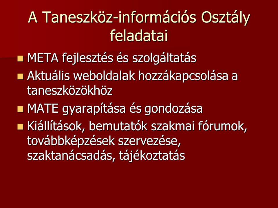A Taneszköz-információs Osztály feladatai META fejlesztés és szolgáltatás META fejlesztés és szolgáltatás Aktuális weboldalak hozzákapcsolása a taneszközökhöz Aktuális weboldalak hozzákapcsolása a taneszközökhöz MATE gyarapítása és gondozása MATE gyarapítása és gondozása Kiállítások, bemutatók szakmai fórumok, továbbképzések szervezése, szaktanácsadás, tájékoztatás Kiállítások, bemutatók szakmai fórumok, továbbképzések szervezése, szaktanácsadás, tájékoztatás