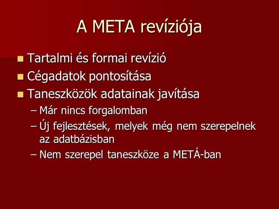 A META revíziója Tartalmi és formai revízió Tartalmi és formai revízió Cégadatok pontosítása Cégadatok pontosítása Taneszközök adatainak javítása Taneszközök adatainak javítása –Már nincs forgalomban –Új fejlesztések, melyek még nem szerepelnek az adatbázisban –Nem szerepel taneszköze a METÁ-ban