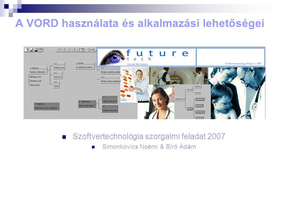 A VORD használata és alkalmazási lehetőségei Szoftvertechnológia szorgalmi feladat 2007 Simonkovics Noémi & Bíró Ádám