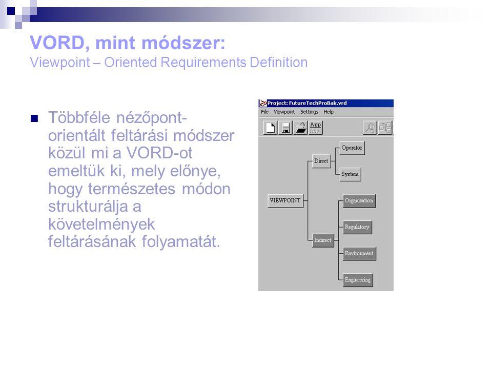 VORD, mint módszer: Viewpoint – Oriented Requirements Definition Többféle nézőpont- orientált feltárási módszer közül mi a VORD-ot emeltük ki, mely előnye, hogy természetes módon strukturálja a követelmények feltárásának folyamatát.