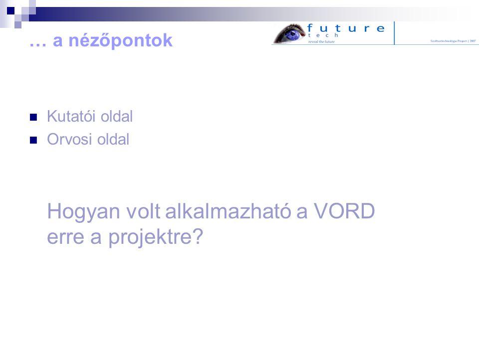 … a nézőpontok Kutatói oldal Orvosi oldal Hogyan volt alkalmazható a VORD erre a projektre?