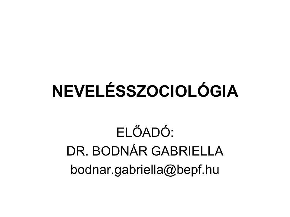 NEVELÉSSZOCIOLÓGIA ELŐADÓ: DR. BODNÁR GABRIELLA bodnar.gabriella@bepf.hu
