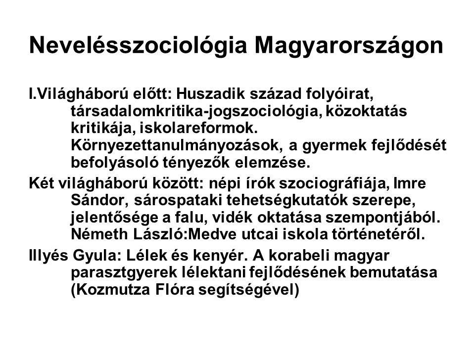 Nevelésszociológia Magyarországon I.Világháború előtt: Huszadik század folyóirat, társadalomkritika-jogszociológia, közoktatás kritikája, iskolareform
