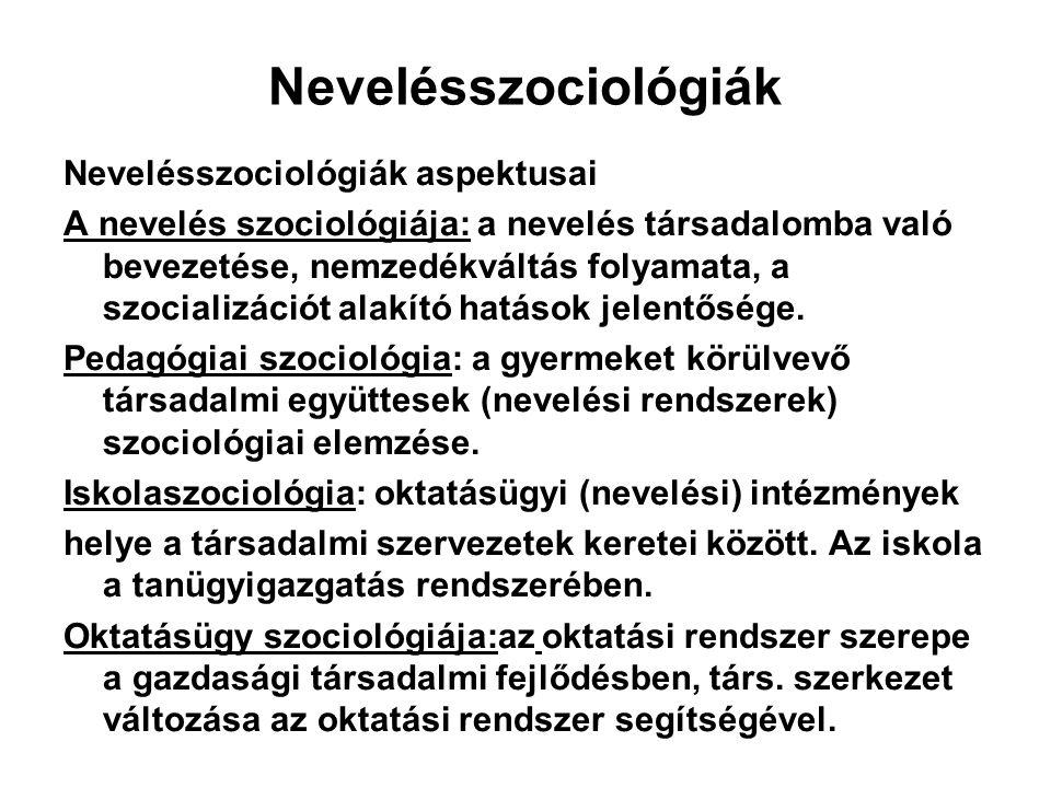 Nevelésszociológiák Nevelésszociológiák aspektusai A nevelés szociológiája: a nevelés társadalomba való bevezetése, nemzedékváltás folyamata, a szocia