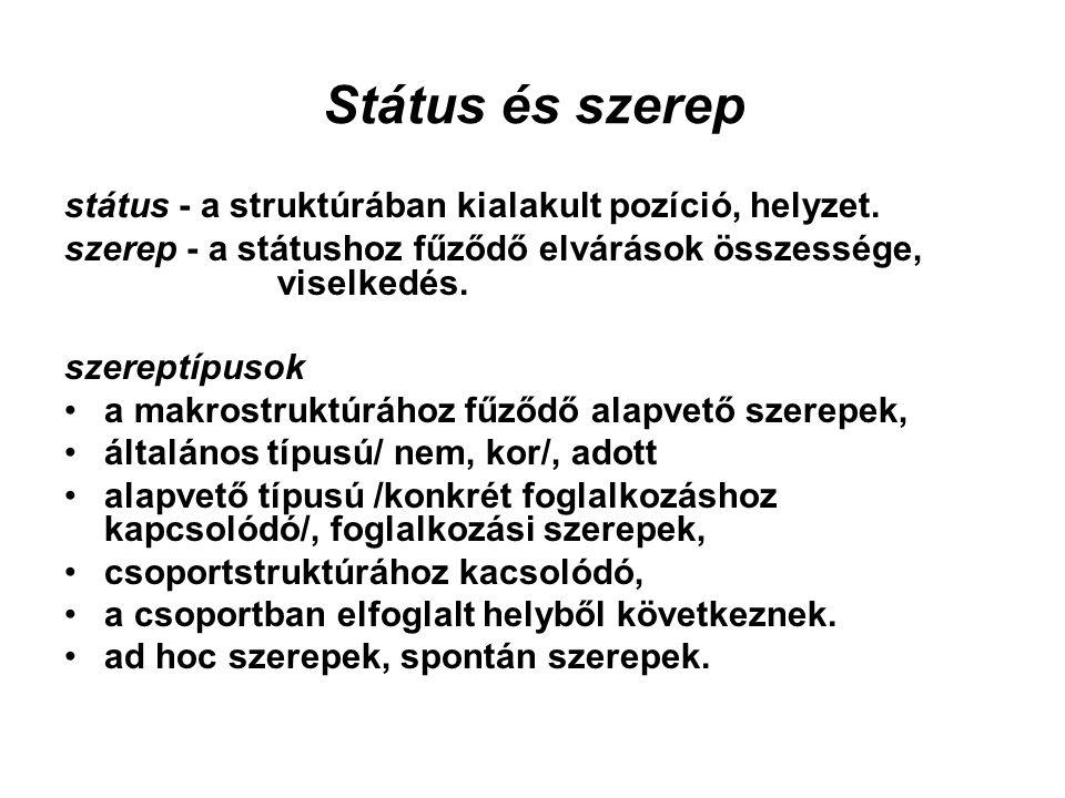 Státus és szerep státus - a struktúrában kialakult pozíció, helyzet. szerep - a státushoz fűződő elvárások összessége, viselkedés. szereptípusok a mak