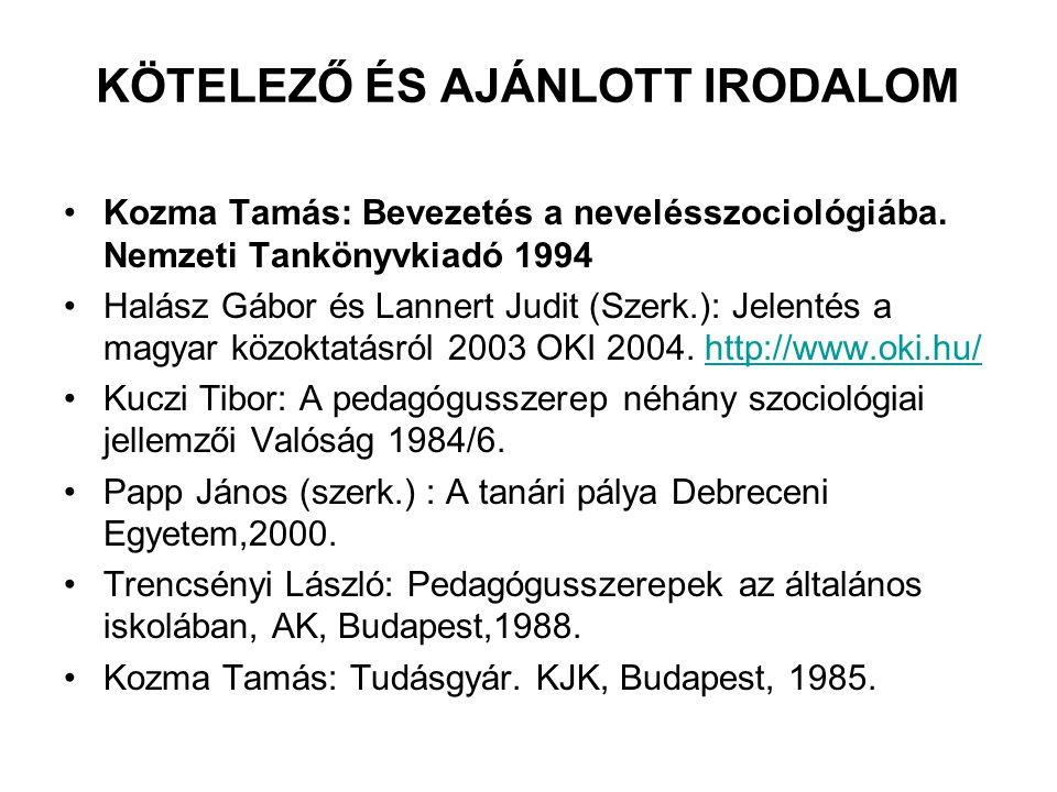 KÖTELEZŐ ÉS AJÁNLOTT IRODALOM Kozma Tamás: Bevezetés a nevelésszociológiába. Nemzeti Tankönyvkiadó 1994 Halász Gábor és Lannert Judit (Szerk.): Jelent