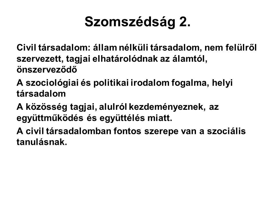 Szomszédság 2. Civil társadalom: állam nélküli társadalom, nem felülről szervezett, tagjai elhatárolódnak az álamtól, önszerveződő A szociológiai és p