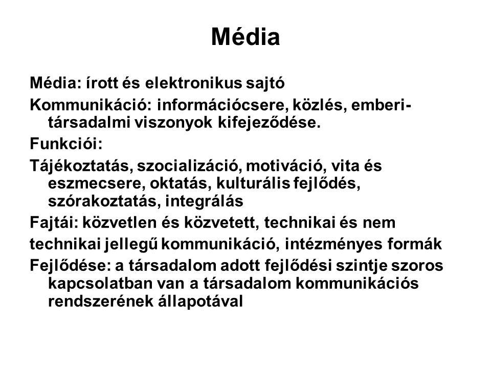 Média Média: írott és elektronikus sajtó Kommunikáció: információcsere, közlés, emberi- társadalmi viszonyok kifejeződése. Funkciói: Tájékoztatás, szo