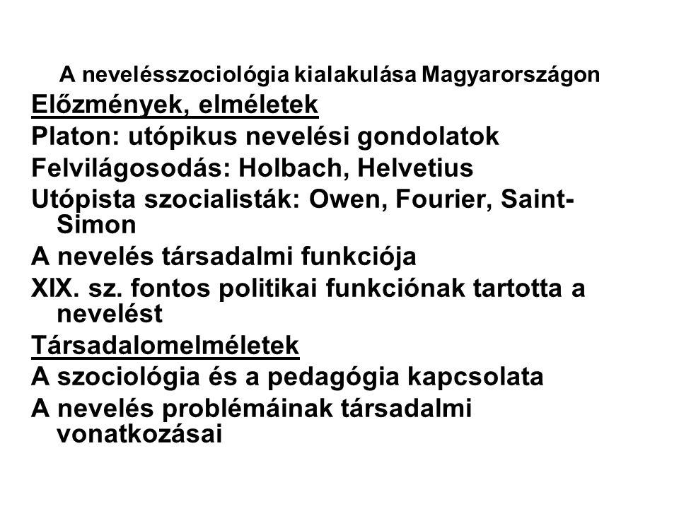 A nevelésszociológia kialakulása Magyarországon Előzmények, elméletek Platon: utópikus nevelési gondolatok Felvilágosodás: Holbach, Helvetius Utópista