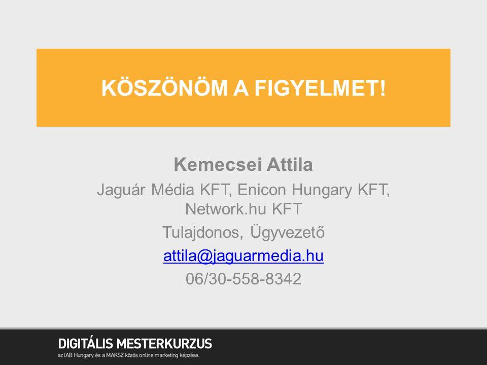 KÖSZÖNÖM A FIGYELMET! Kemecsei Attila Jaguár Média KFT, Enicon Hungary KFT, Network.hu KFT Tulajdonos, Ügyvezető attila@jaguarmedia.hu 06/30-558-8342