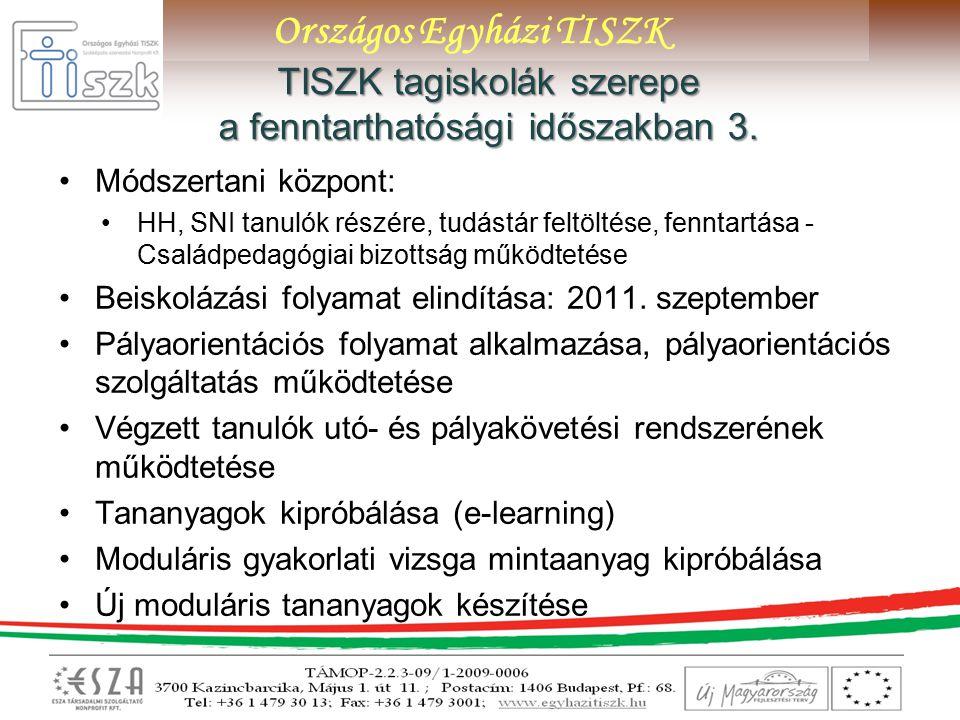 Országos Egyházi TISZK TISZK tagiskolák szerepe a fenntarthatósági időszakban 3.