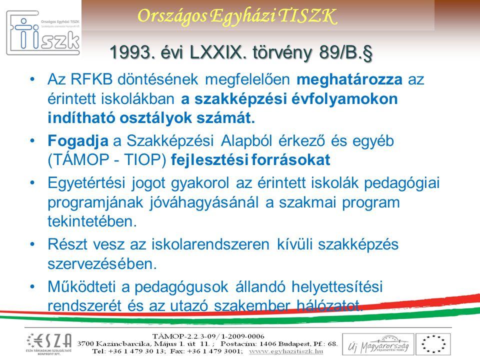 Országos Egyházi TISZK 1993. évi LXXIX.