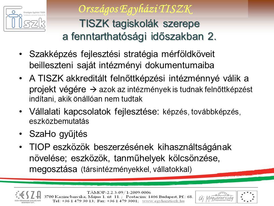 Országos Egyházi TISZK TISZK tagiskolák szerepe a fenntarthatósági időszakban 2.