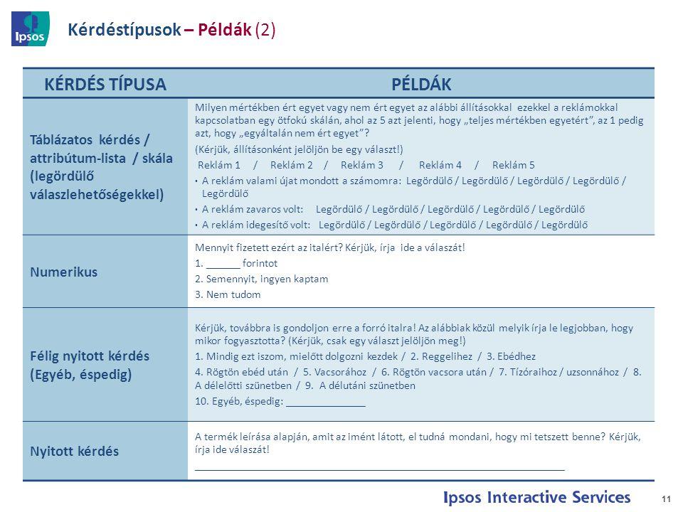 Kérdéstípusok – Példák (2) 11 KÉRDÉS TÍPUSAPÉLDÁK Táblázatos kérdés / attribútum-lista / skála (legördülő válaszlehetőségekkel) Milyen mértékben ért e