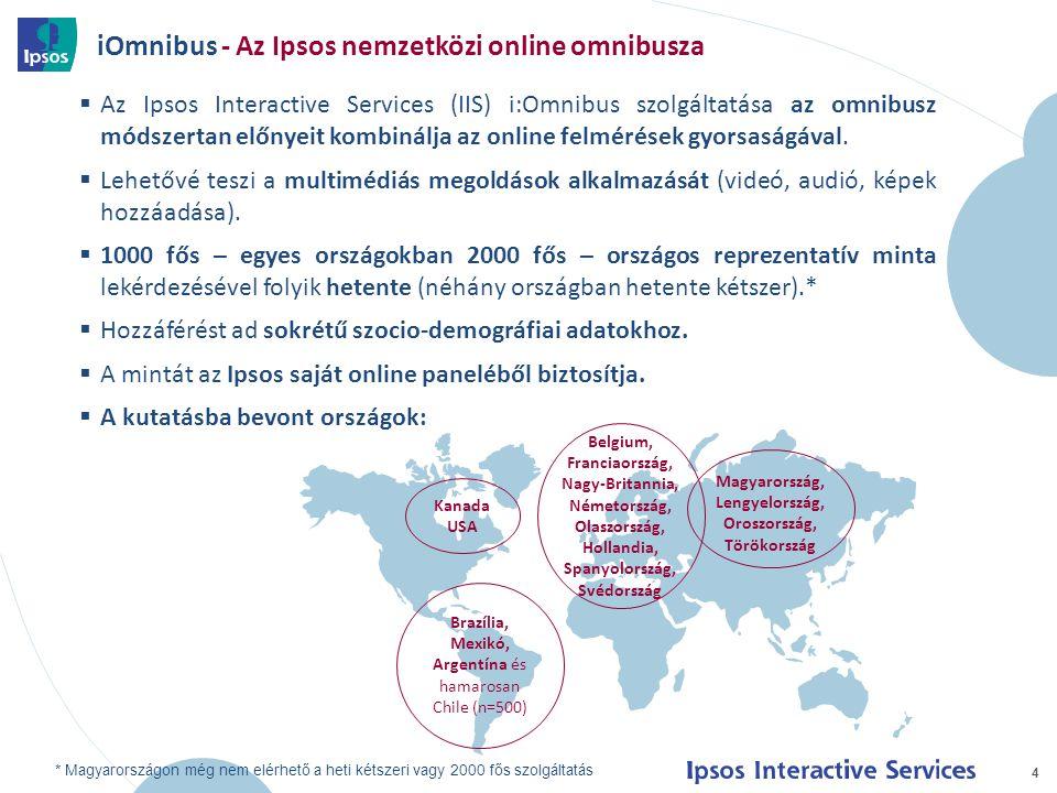 iOmnibus - Az Ipsos nemzetközi online omnibusza 4  Az Ipsos Interactive Services (IIS) i:Omnibus szolgáltatása az omnibusz módszertan előnyeit kombin