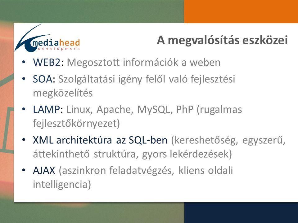 A megvalósítás eszközei WEB2: Megosztott információk a weben SOA: Szolgáltatási igény felől való fejlesztési megközelítés LAMP: Linux, Apache, MySQL, PhP (rugalmas fejlesztőkörnyezet) XML architektúra az SQL-ben (kereshetőség, egyszerű, áttekinthető struktúra, gyors lekérdezések) AJAX (aszinkron feladatvégzés, kliens oldali intelligencia)
