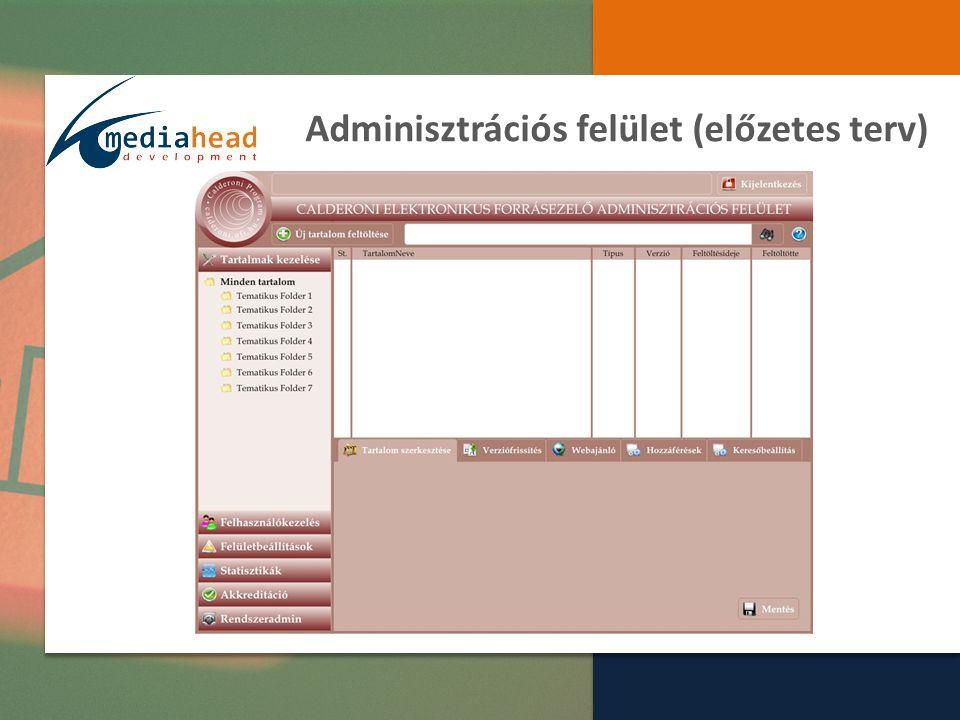 Adminisztrációs felület (előzetes terv)