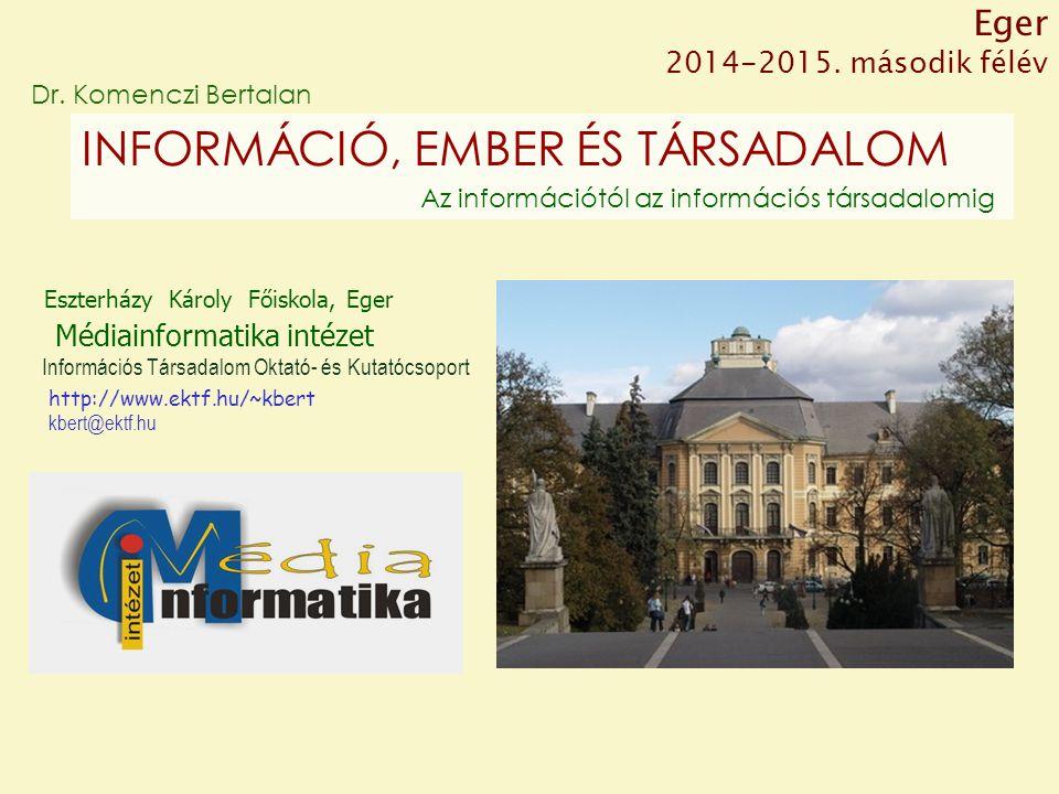 Eszterházy Károly Főiskola, Eger Médiainformatika intézet kbert@ektf.hu Dr.