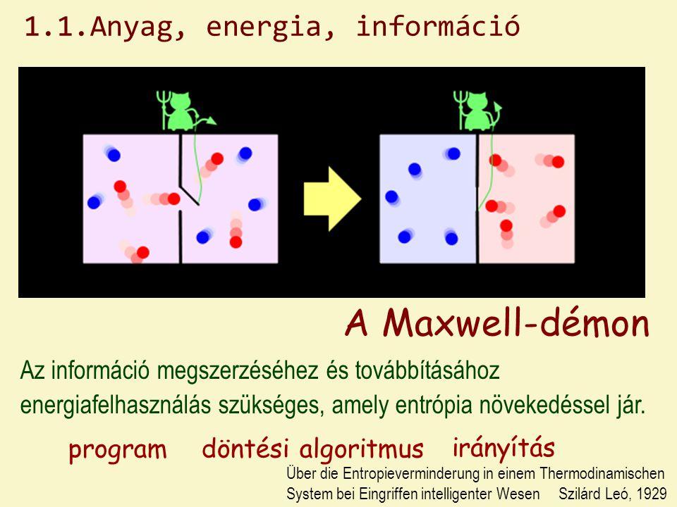 A Maxwell-démon Az információ megszerzéséhez és továbbításához energiafelhasználás szükséges, amely entrópia növekedéssel jár.