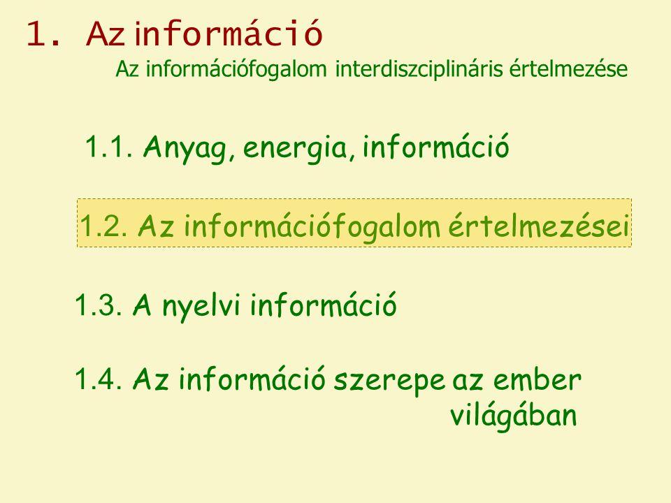 1.Az i nformáció 1.1. Anyag, energia, információ 1.2.