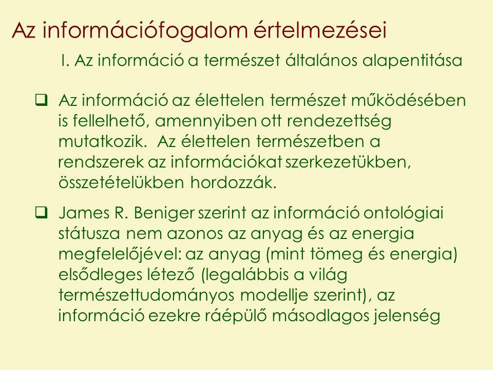 Az információfogalom értelmezései I.