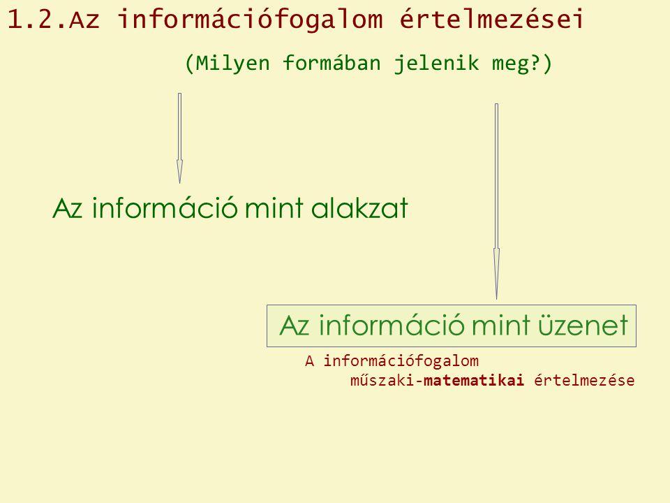 Az információ mint üzenet Az információ mint alakzat (Milyen formában jelenik meg?) 1.2.Az információfogalom értelmezései A információfogalom műszaki-matematikai értelmezése