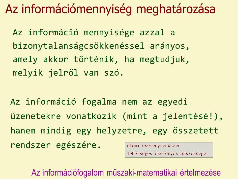Az információ fogalma nem az egyedi üzenetekre vonatkozik (mint a jelentésé!), hanem mindig egy helyzetre, egy összetett rendszer egészére.