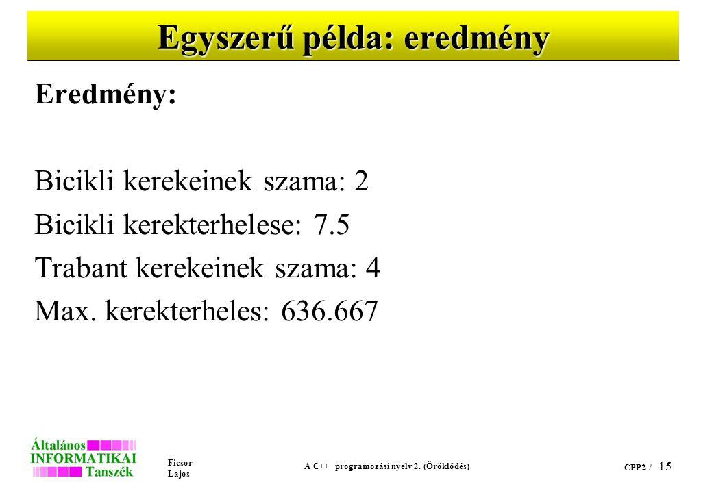 Ficsor Lajos A C++ programozási nyelv 2. (Öröklődés) CPP2 / 15 Egyszerű példa: eredmény Eredmény: Bicikli kerekeinek szama: 2 Bicikli kerekterhelese:
