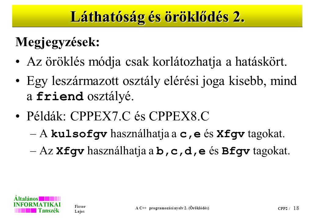 Ficsor Lajos A C++ programozási nyelv 2. (Öröklődés) CPP2 / 18 Láthatóság és öröklődés 2. Megjegyzések: Az öröklés módja csak korlátozhatja a hatáskör