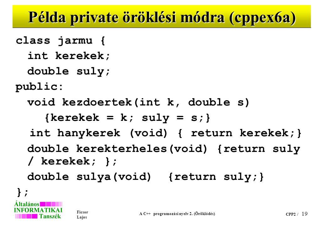 Ficsor Lajos A C++ programozási nyelv 2. (Öröklődés) CPP2 / 19 Példa private öröklési módra (cppex6a) class jarmu { int kerekek; double suly; public: