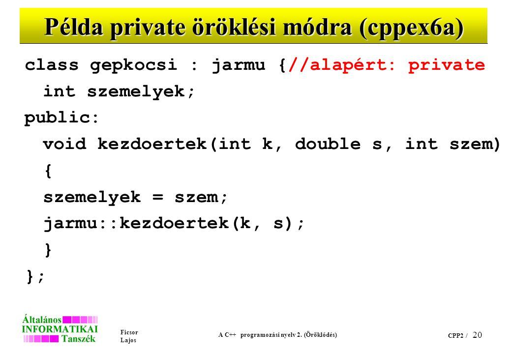 Ficsor Lajos A C++ programozási nyelv 2. (Öröklődés) CPP2 / 20 Példa private öröklési módra (cppex6a) class gepkocsi : jarmu {//alapért: private int s
