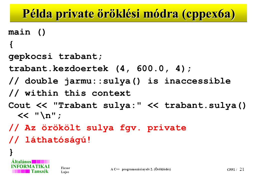 Ficsor Lajos A C++ programozási nyelv 2. (Öröklődés) CPP2 / 21 Példa private öröklési módra (cppex6a) main () { gepkocsi trabant; trabant.kezdoertek (